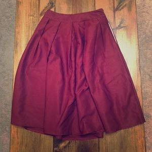 Burgundy Midi Skirt with POCKETS!!!!